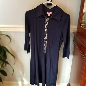 Lilly Pulitzer Navy Rossi Silk Dress NWT size 8